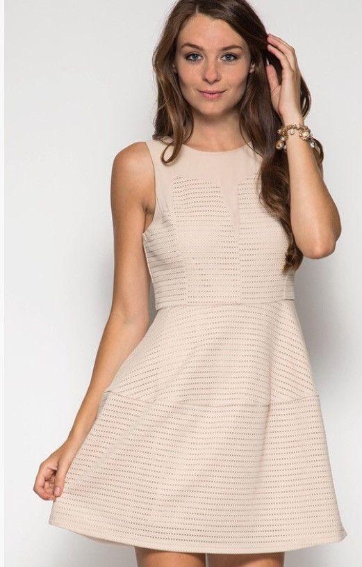 Ivory Sleeveless Fit & Flare Dress