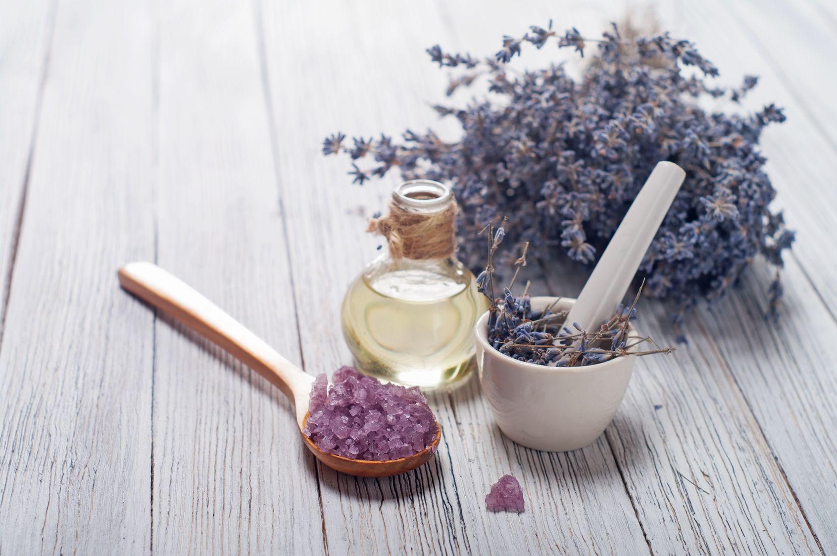 Lavender flowers. Spa elements.