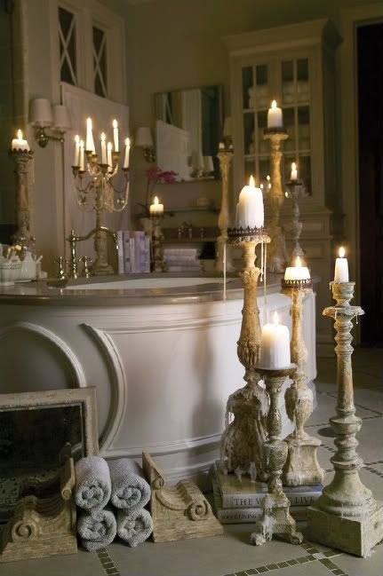 How To Create A French Bathroom French Bathroom Tall Candle Holders Bath Candles Romantic
