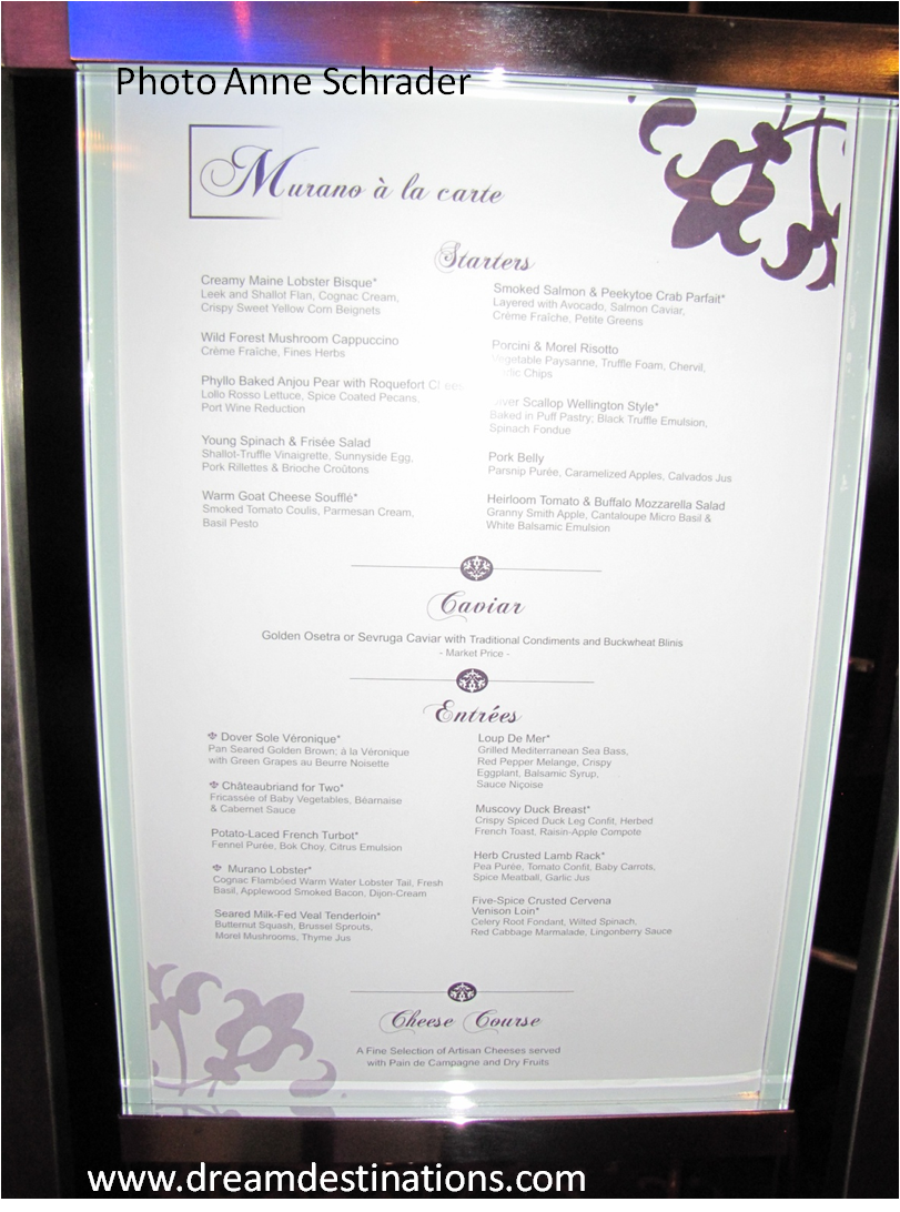Murano Restaurant on Celebrity Cruises (Plus Menu ...