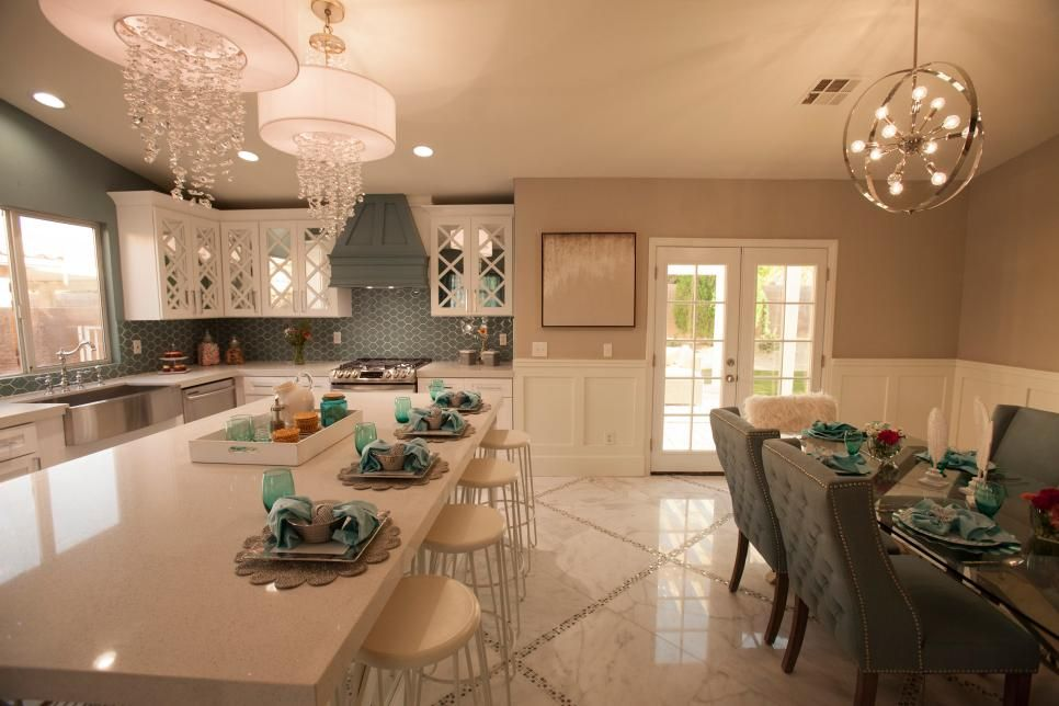 ec2b4a688 Love the long island the green color used on the walls and chairs in this  kitchen. Next-Level Glam Spaces Seen on 'Flip or Flop Vegas'   Flip or Flop  Vegas ...
