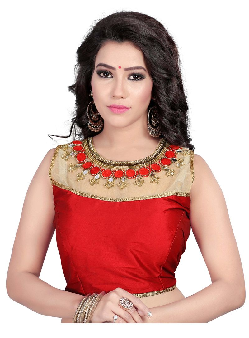 77af472fc9b318 Red Taffeta Readymade Blouse 90976 | Saree blouse patterns in 2019 ...