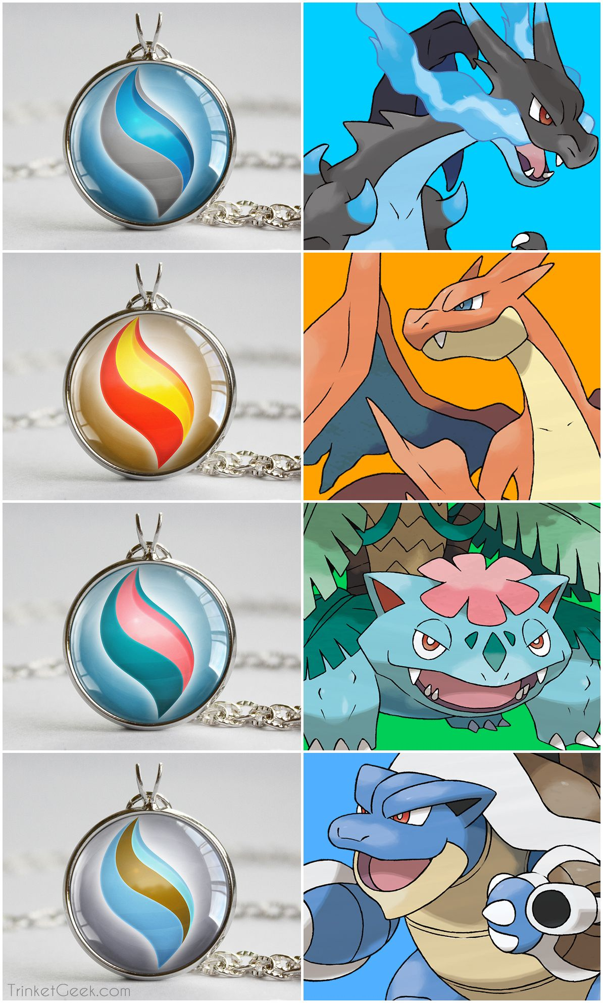 Pokemon X and Y Mega stone necklace pendants. Charizard, Venusaur and Blastoise. #nintendo #gaming #treatsforgeeks