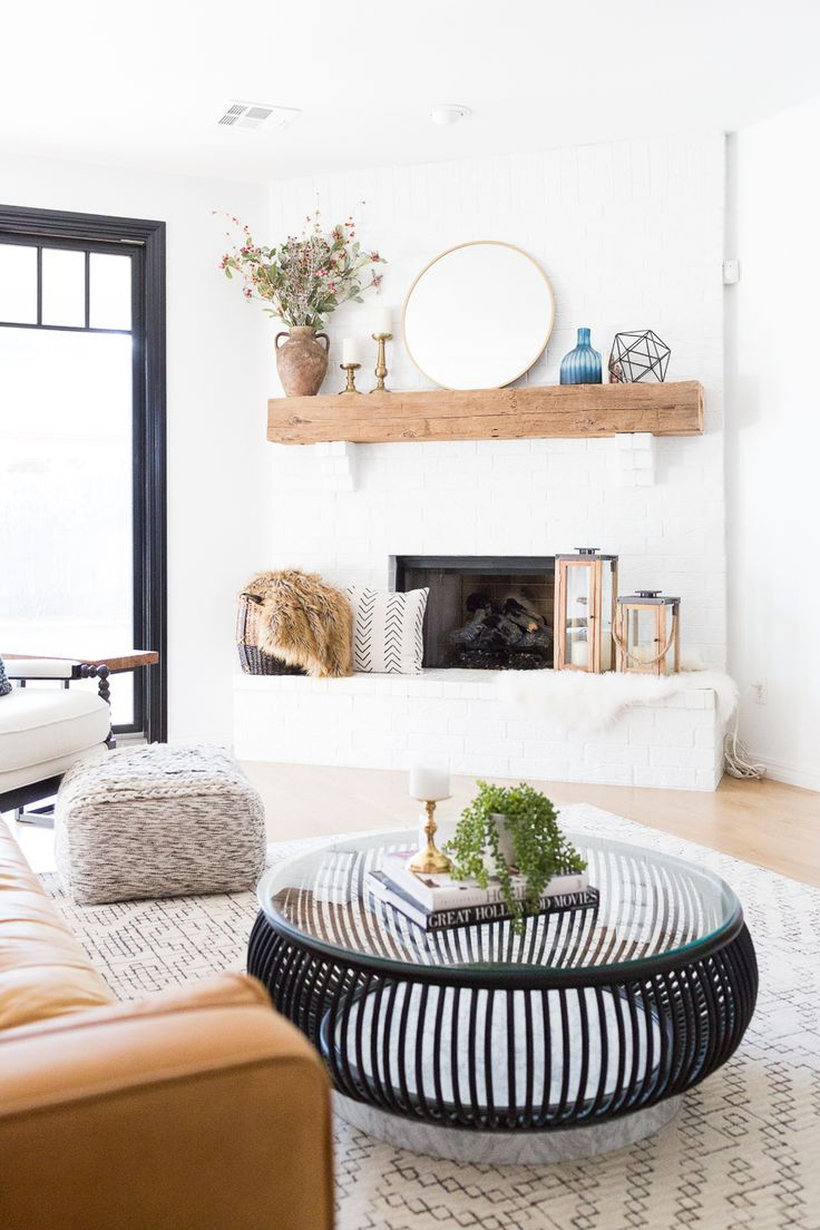 Home Decorating Diy Projects White Painted Brick Fireplace Makeover Tv Collage Wall Pottery Barn Wood Media C