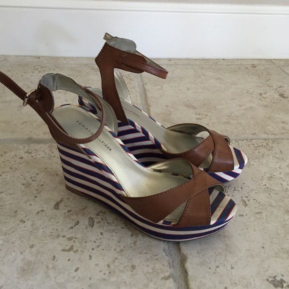 Tommy Hilfiger wedges Tommy Hilfiger nautical wedges! Perfect condition! 4 inch heel Tommy Hilfiger Shoes