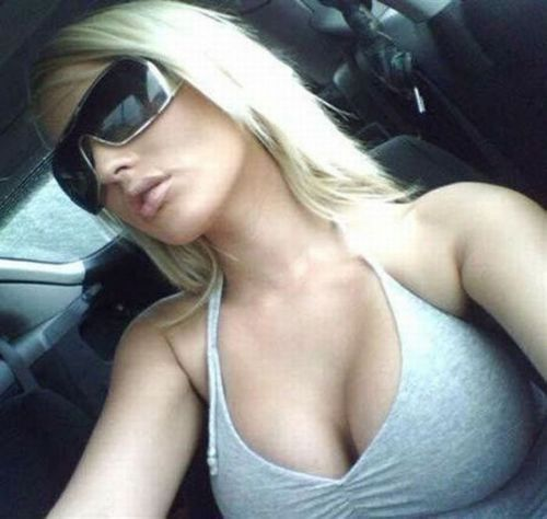 Awesome busty blonde before the action