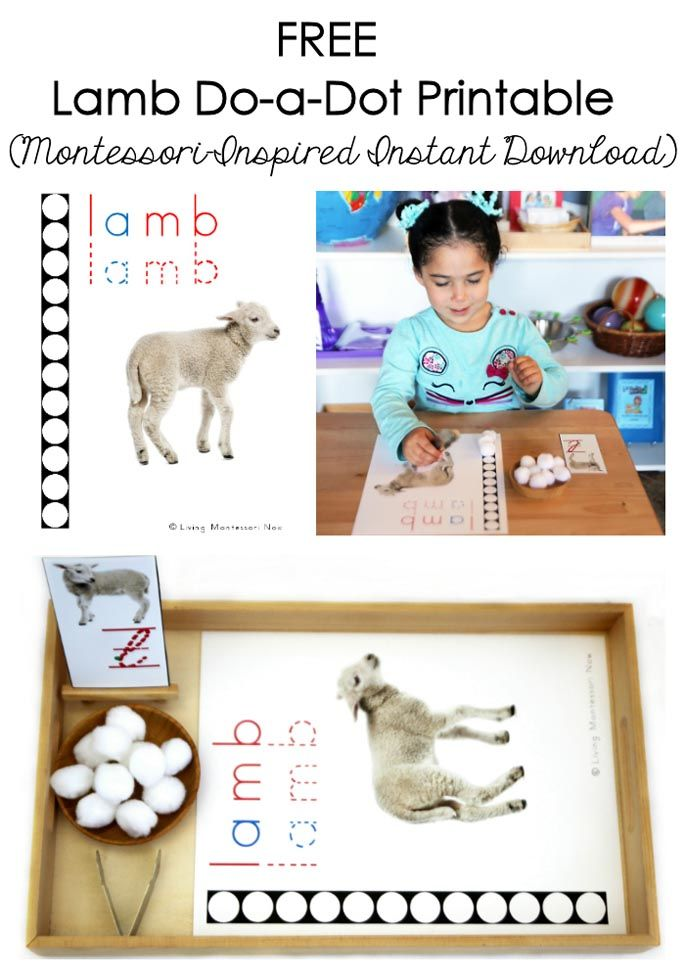 This free lamb do-a-dot printable is an instant download and is perfect for a lamb unit or farm unit. Post includes the Montessori Monday linky collection.