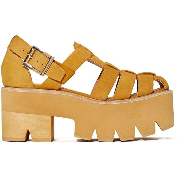 Jeffrey Campbell Argo Platform Sandal (965 DKK) ❤ liked on Polyvore featuring shoes, sandals, zapatos, wheat, leather upper shoes, lug sole sandals, jeffrey campbell, platform shoes and destroy shoes