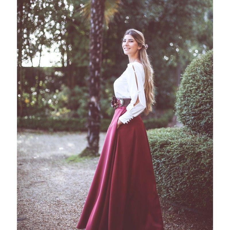 815e82073f falda larga en crepe raso para boda y eventos confeccionada en España