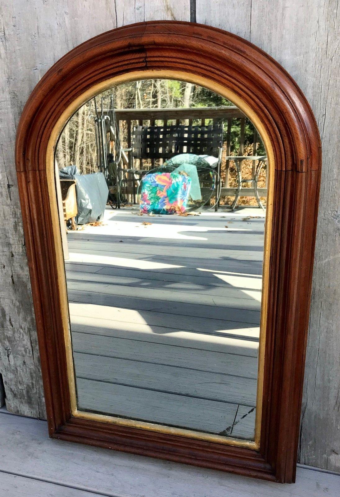 Antique Victorian Arch 29 Mahogany Wall Mirror W Gilt Gesso Liner