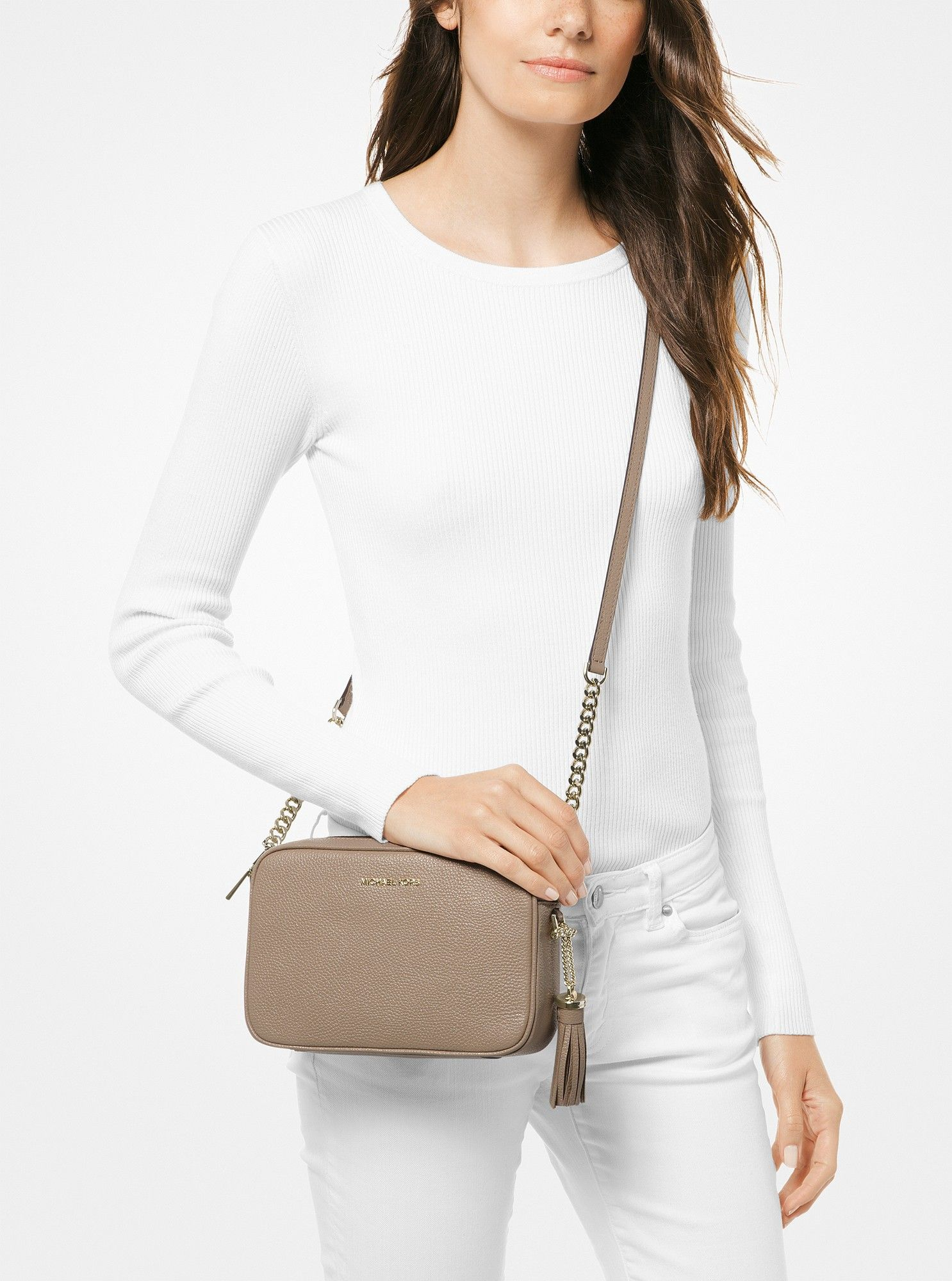 1860172a1e Michael Kors Ginny Medium Pebbled Leather Crossbody - Truffle