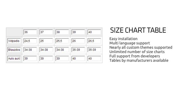 Opencart Size Chart Table  Opencart Size Chart Table New Assign