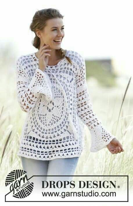 DROPS crochet tunic Free pattern | Crochet - Tops | Pinterest ...