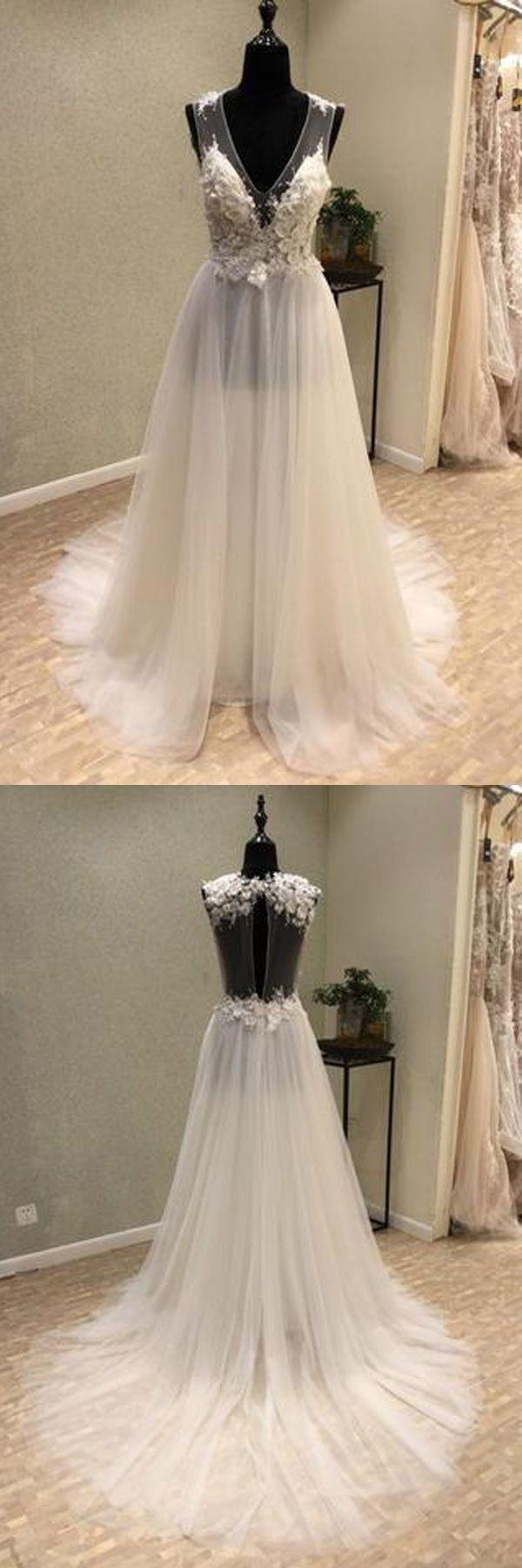 Custom made wedding dress  Custom Made Light Wedding Dresses Cheap Cheap VNeck Open Back Tulle