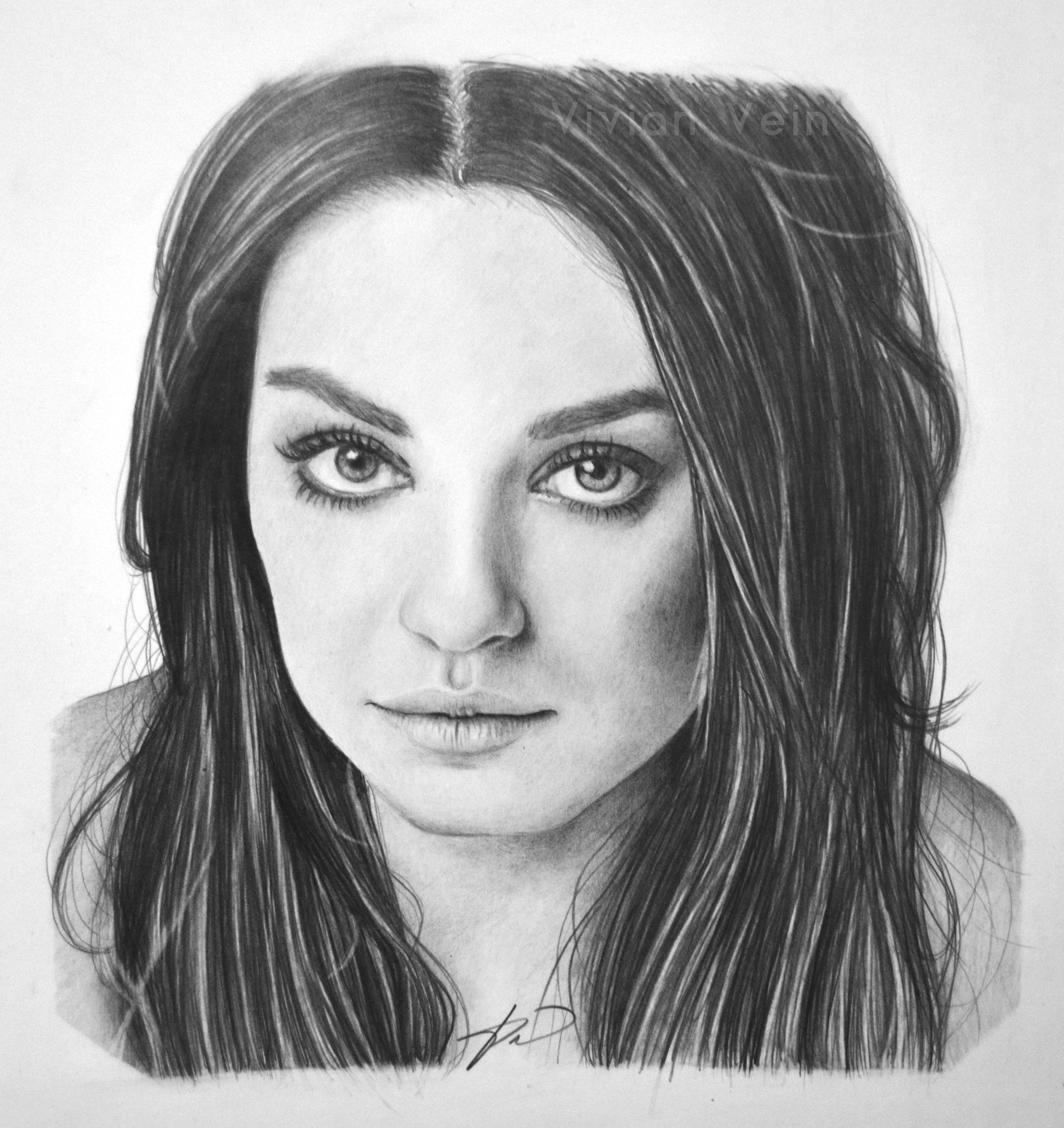 Mila kunis original pencil drawing actress fine art home decor
