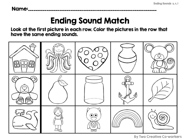Students Will Color The Pictures In Each Row That Have The Same Ending Sound Phonics Worksheets Kindergarten Worksheets Free Printable Worksheets