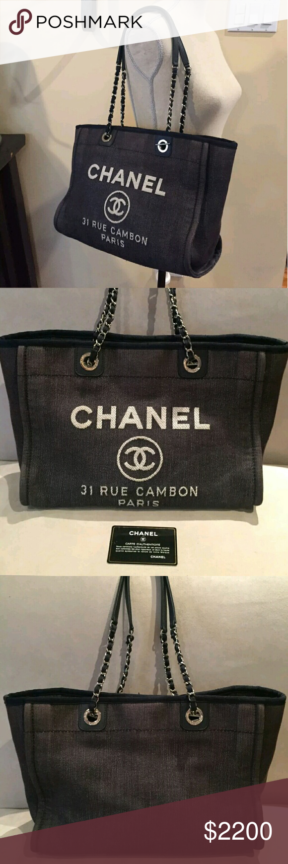 ec0b24bcee986 Chanel deauville blue denim medium tote bag Chanel Medium Navy Blue Denim  Medium Deauville Tote Shoulder
