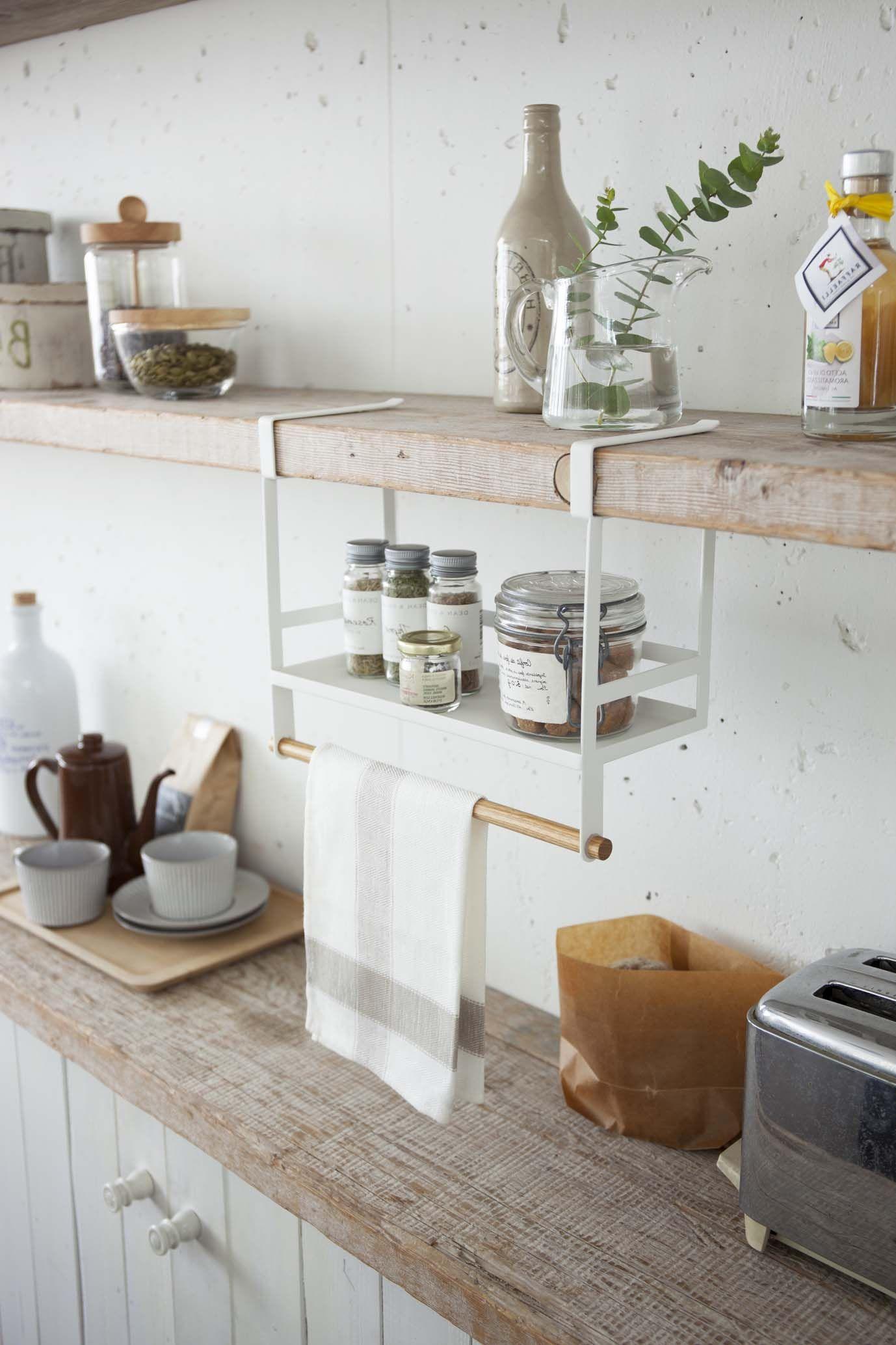 Under Shelf Spice Rack Plastic Wood In 2021 Open Kitchen Shelves Floating Shelves Kitchen Tiny House Kitchen