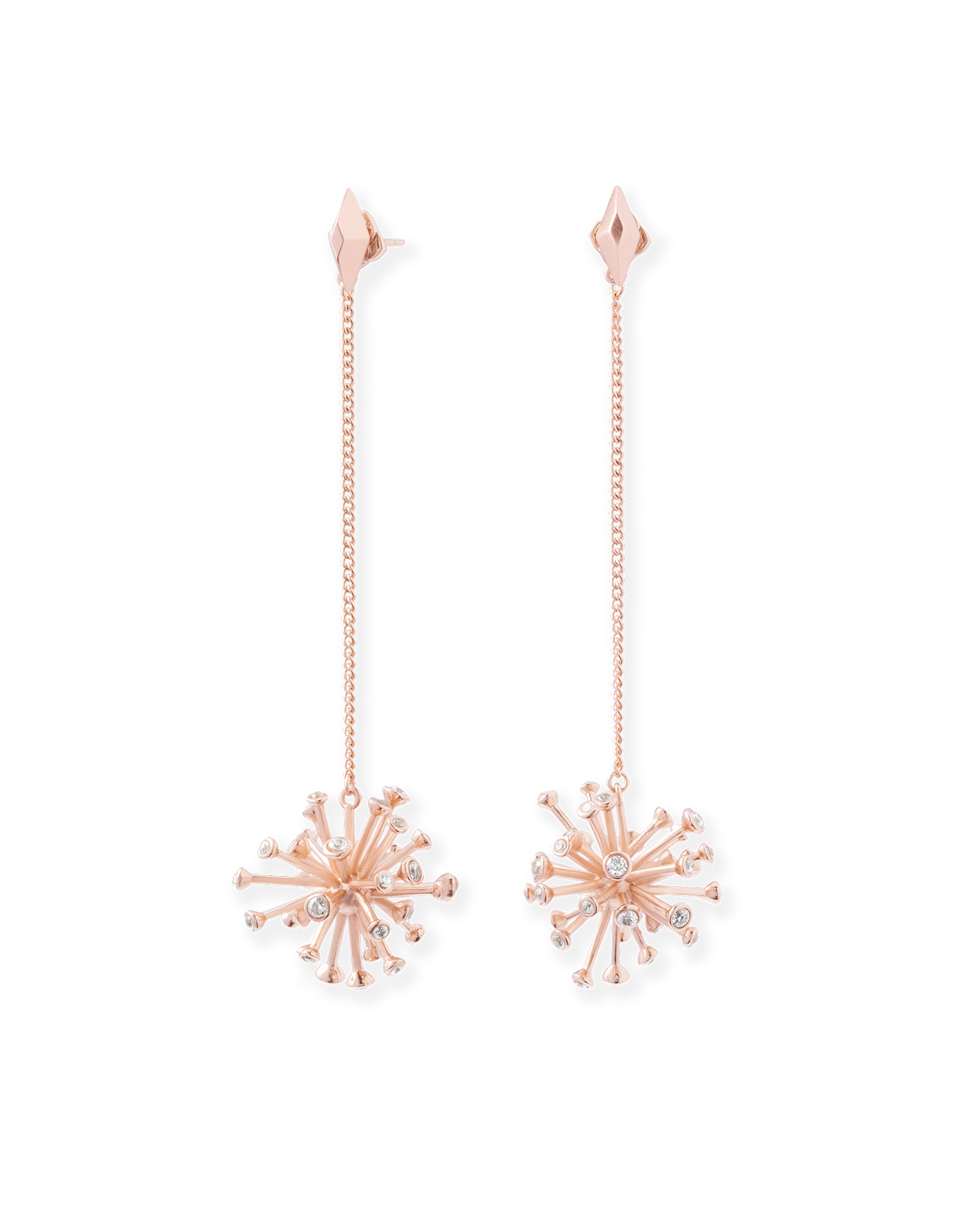 These rose gold shoulder duster ear jackets from kendra scott are