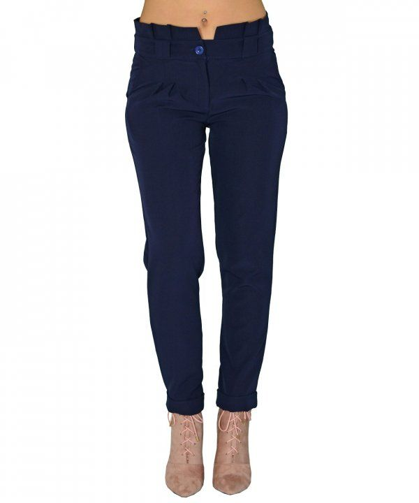 33ca3a8d379 Γυναικείο ψηλόμεσο παντελόνι Benissimo μπλε υφασμάτινο 41643 ...