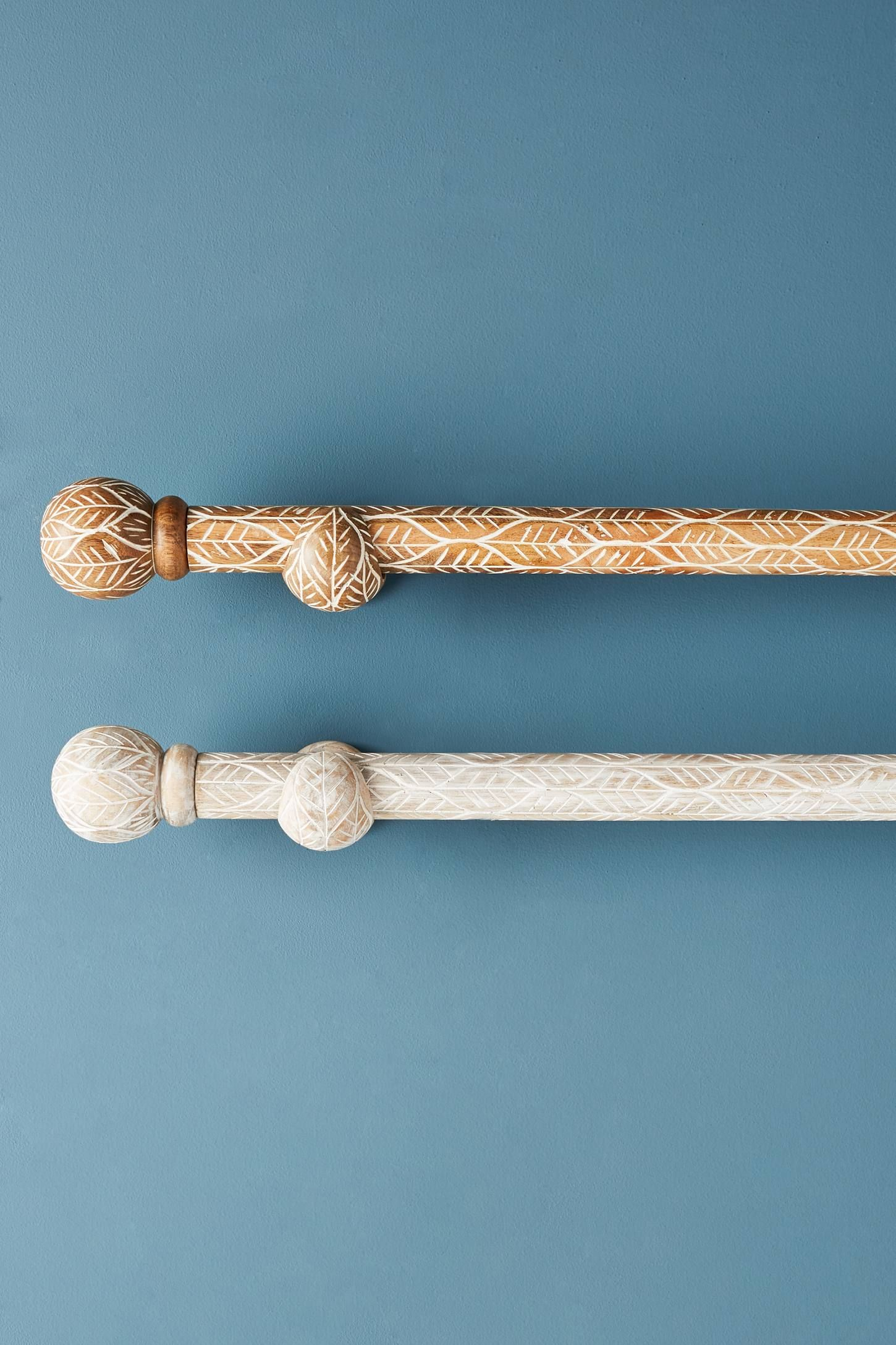 Twig Etched Curtain Rod Set Curtain Rods Rod Set Wood Curtain Rods