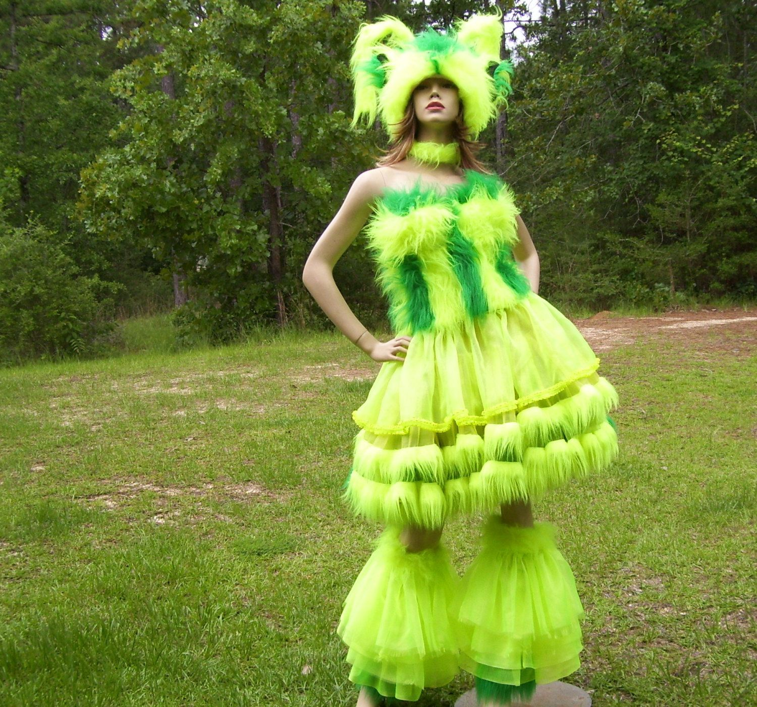 Neon Monster Costume Dress Fur Bustier Full Crinoline Fur Skirt Ruffles Yellow Green Day Glow Furry Hat Halloween Costume Adult L XL & Neon Monster Costume Dress Fur Bustier Full by avantegarb on Etsy ...