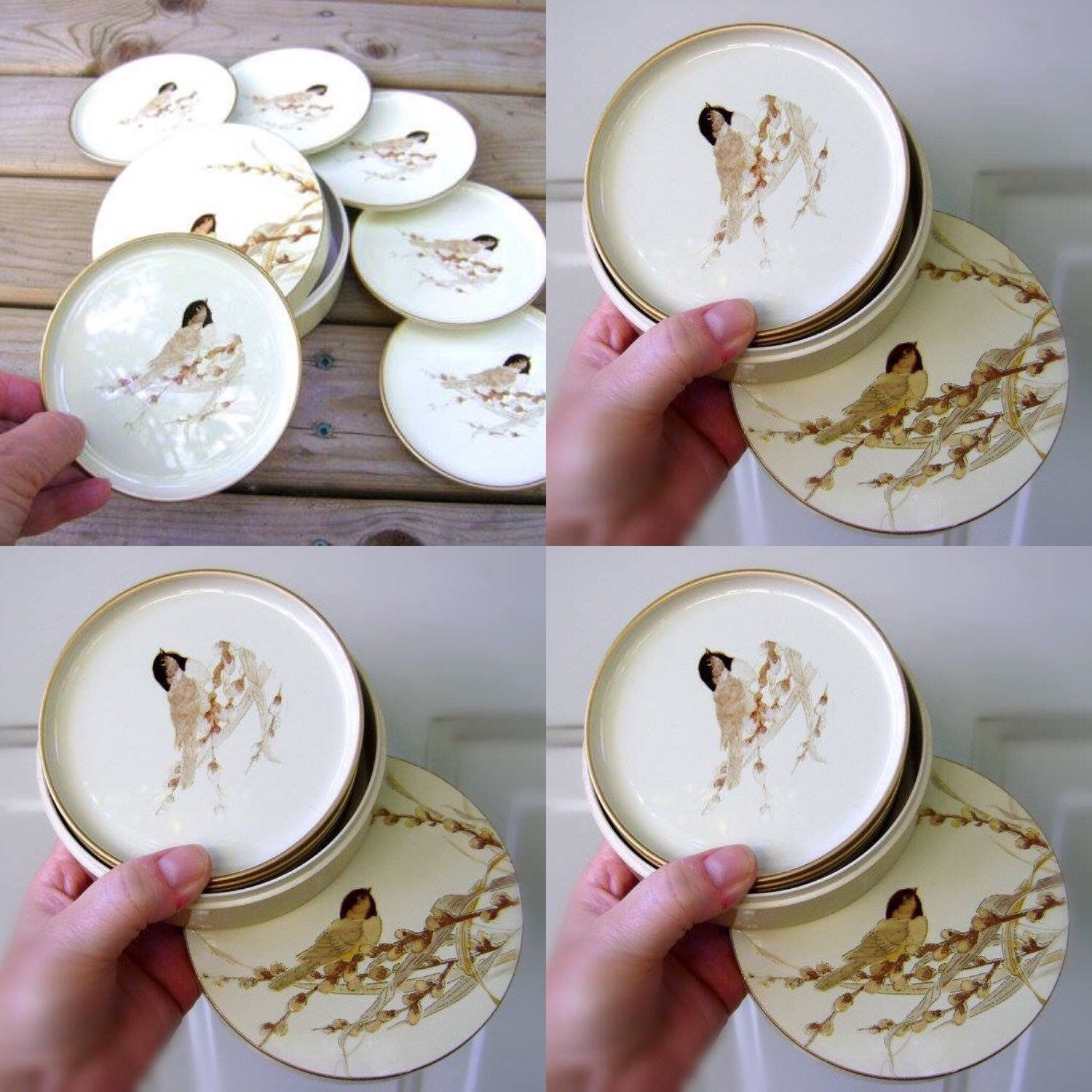 Adorable vintage chickadee pussywillow coasters retro