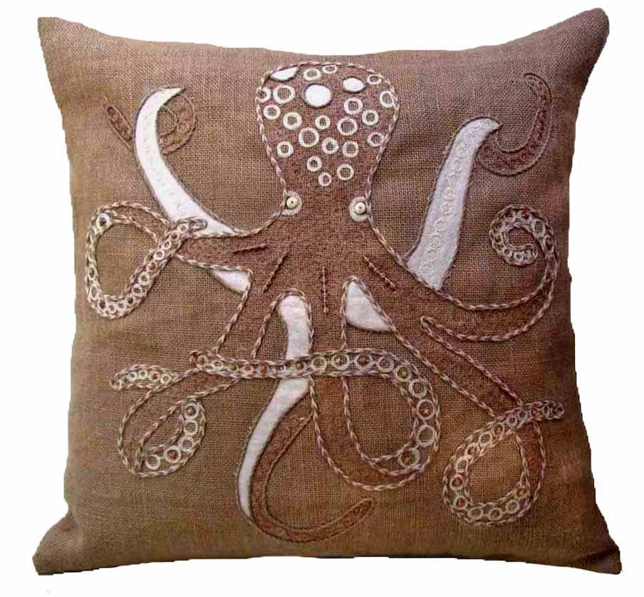 Burlap Octopus Pillow buy #coastal style #pillows at Seaside Beach Decor http://www.seasidebeachdecor.com
