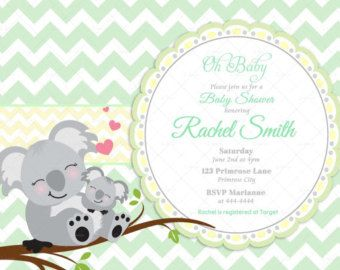 Koalas Para Baby Shower Green Chevron And Yellow Koala