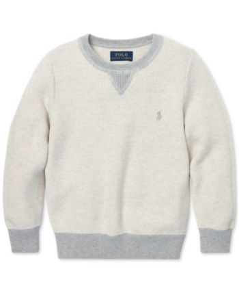 34c0be2a2456 Polo Ralph Lauren Little Boys Cotton Crew-Neck Sweater - Stone ...