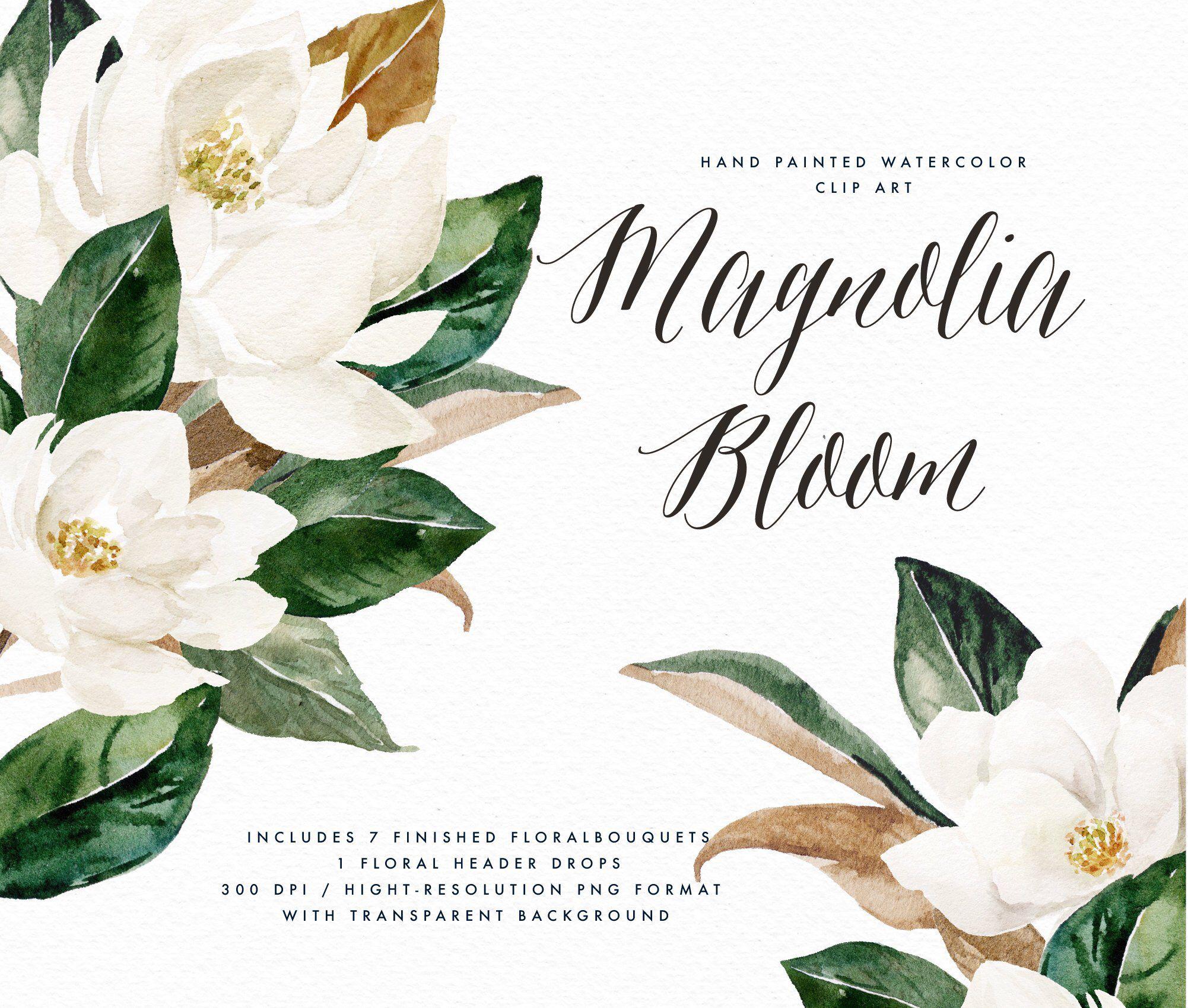 Watercolor Floral Clip Art Magnolia Bloom Small Set Wedding Clip