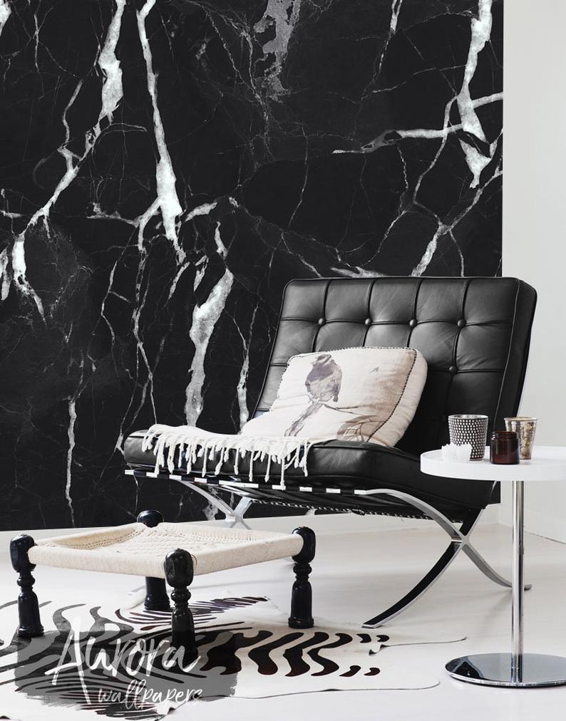 Black Marble Wall Mural Art Wall Decor Removable Wallpaper Etsy Marble Wall Mural Mural Wall Art Marble Wallpaper
