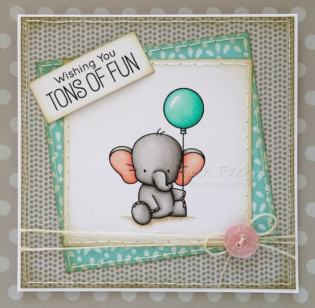 Cute handmade elephant birthday card image is Adorable Elephants by