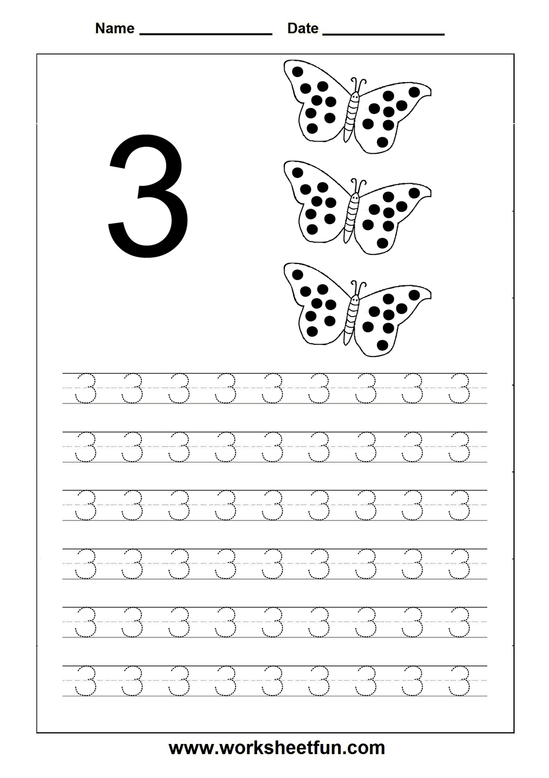 Number Tracing 3 With Images