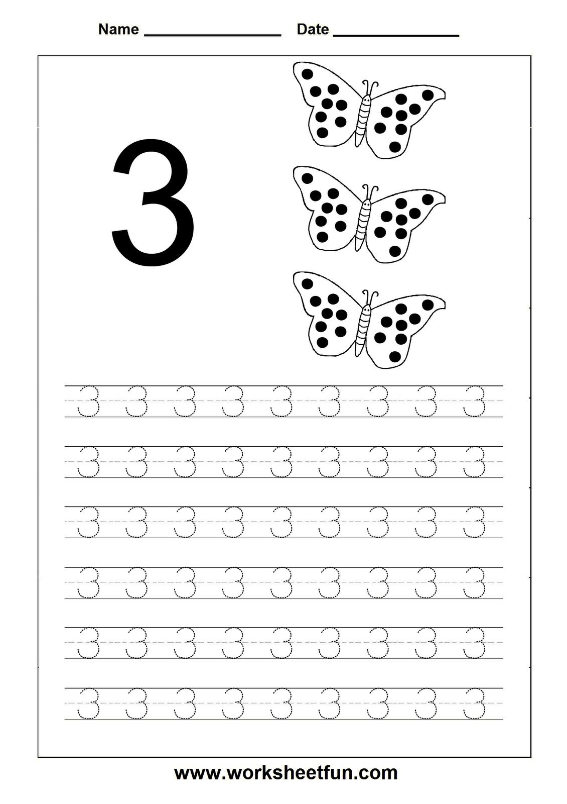Number Tracing 3 | Number tracing, Worksheets, Preschool