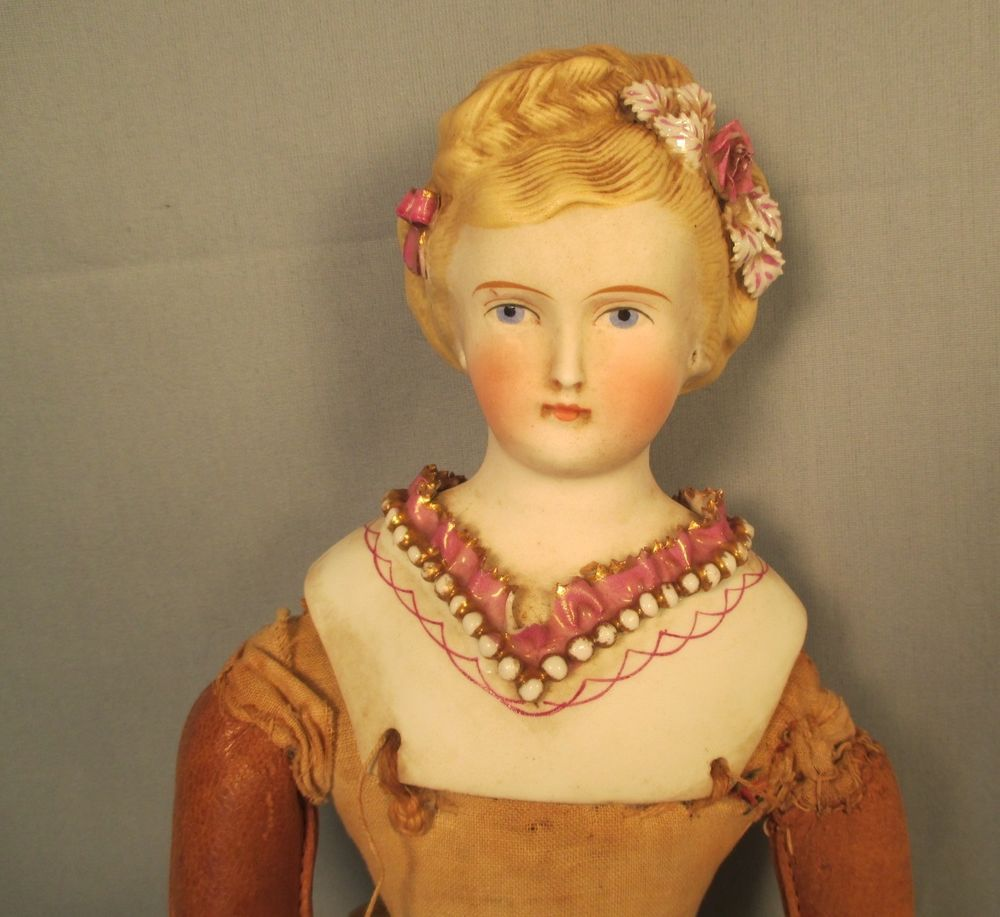 Antique German Parian Doll Molded Ruffles Bow Flowers Restore Dresden Bisque