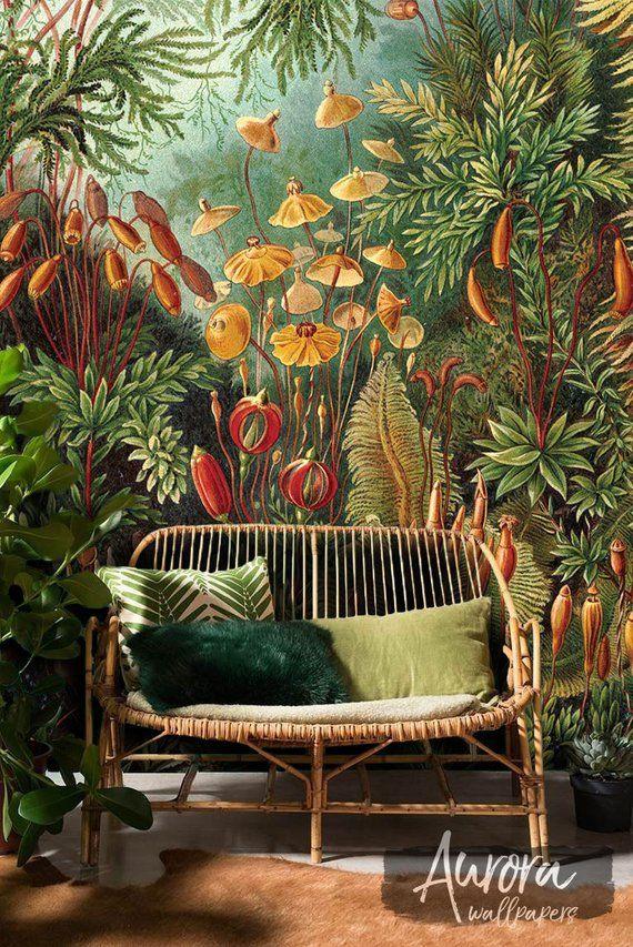 Amazonas Dschungel abnehmbare Tapete, Neu positionierbar, helle Pflanzen, bunte, Jahrgang Wand Wandbild, tropische Wand Dekor #07 #tropicalpattern