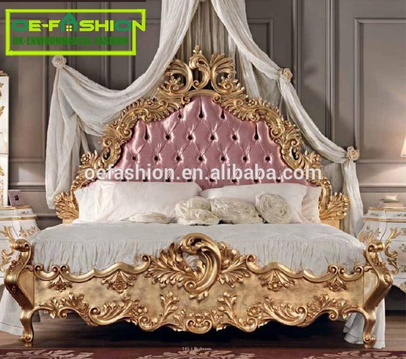 Oe Fashion European Classical Wood Carving Bed Adult Princess