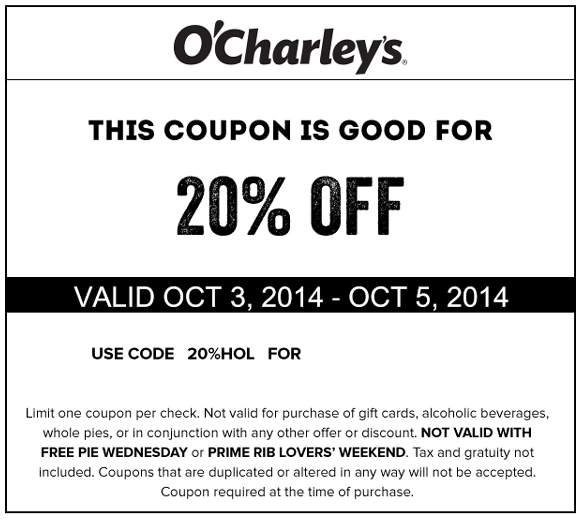 photograph about Ocharleys Printable Coupons identified as Pinned Oct 5th: 20% off at present at OCharleys dining places