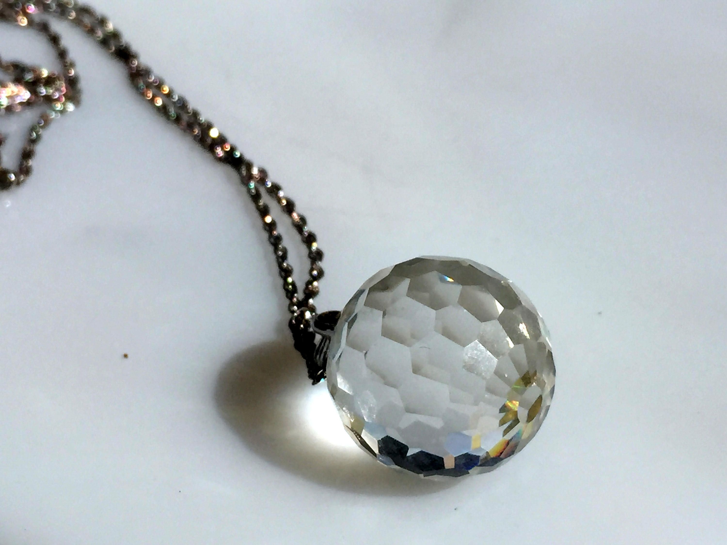 Vintage Gorham Sterling Slver Faceted Crystal Ball Round Glass Pendant Necklace Glass Pendant Necklace Pendant Necklace Pendant