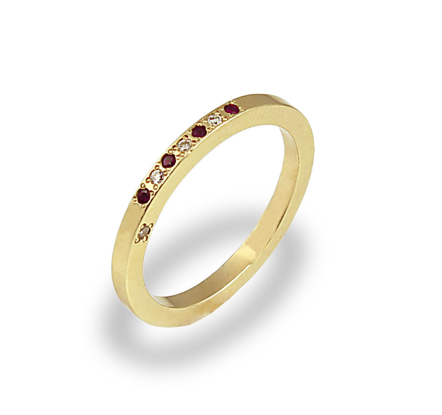 nine stone wedding ring diamond garnet ring 14k yellow gold rings