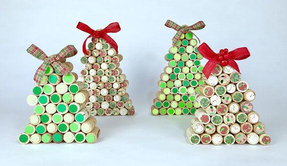 Wonderfully unique medium size wine cork Christmas tree embellished
