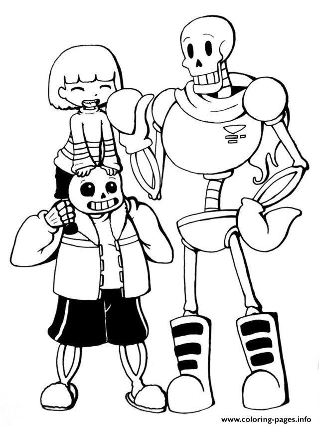 Print undertale trio frisk sans and papyrus by chiherah