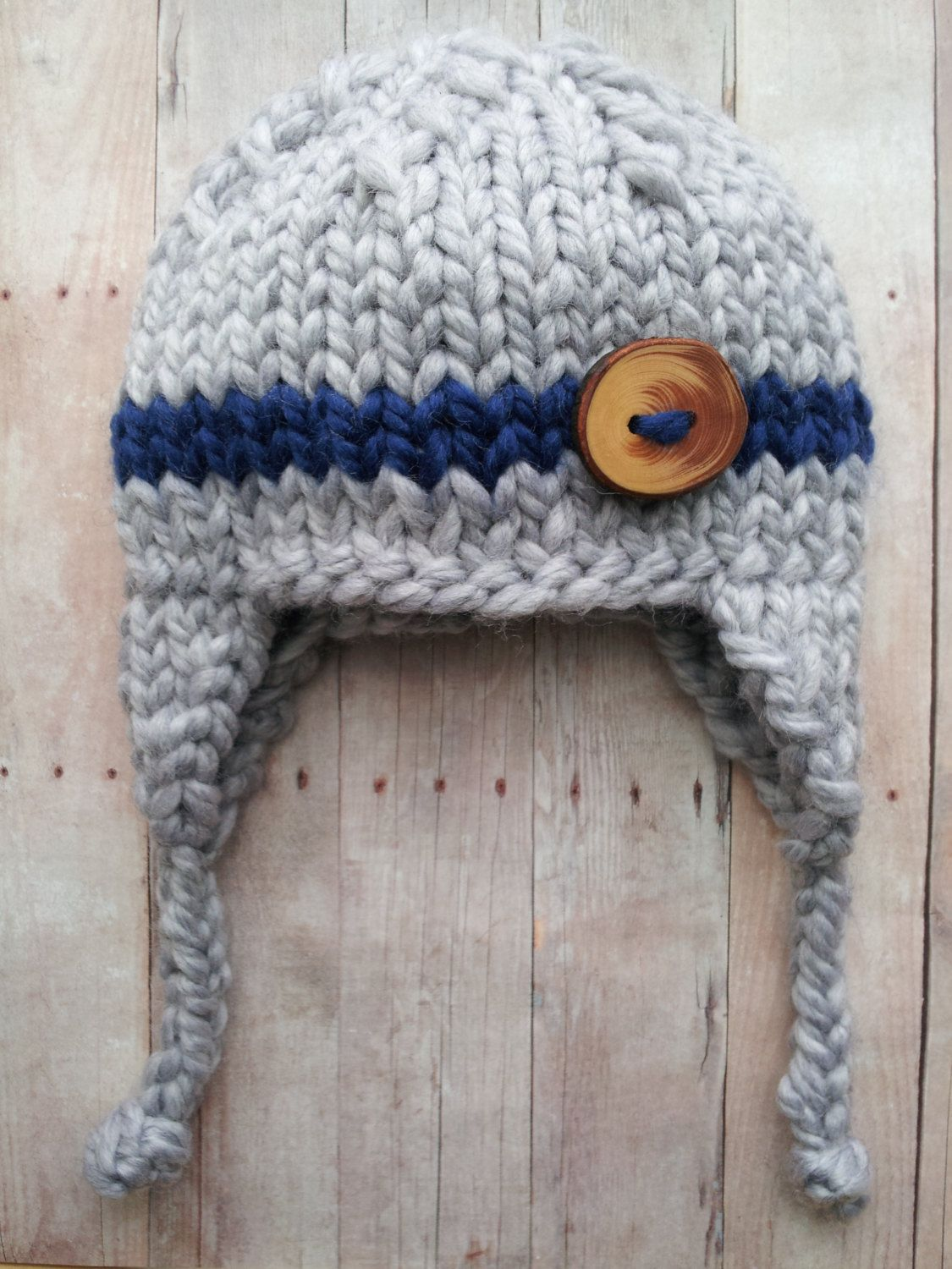 Gray Blue Baby Boy Knitted Hat Baby Hat With Stripe