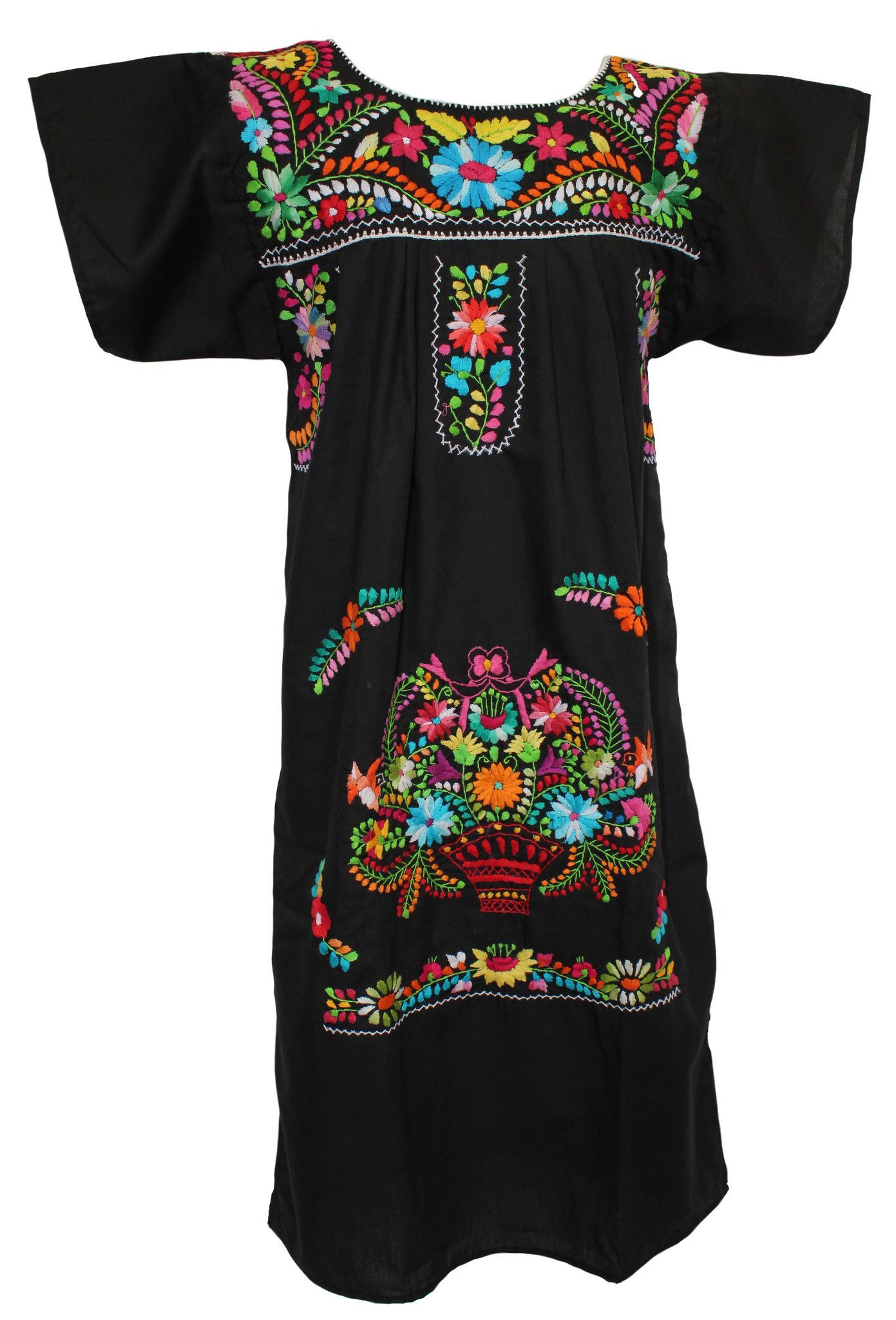 16965652e7a096 Mexican Dress Traditional Floral - Black