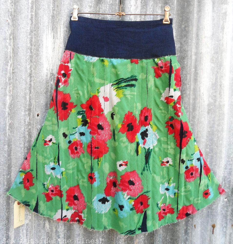 Vertical splice skirt with yokesize waist cm and length cm