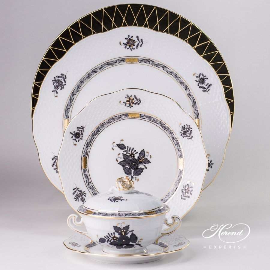 Place Setting W Soup Cup 6 Piece Chinese Bouquet Apponyi Black Herend Fine China Place Settings Tableware Collection
