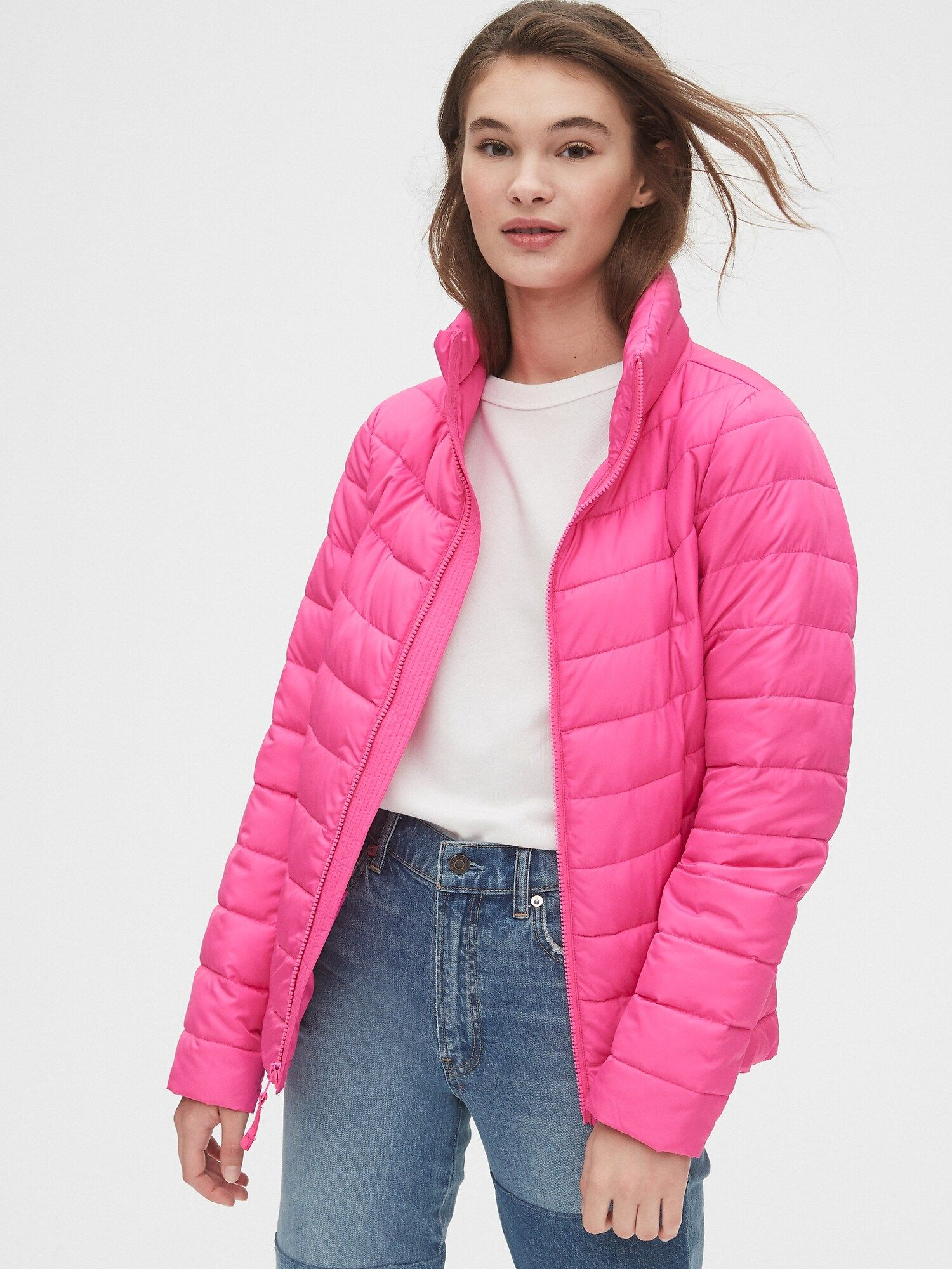 Gap Coldcontrol Lightweight Puffer Jacket Bright Neon Pink Spring Sweater Outfits Jackets Puffer Jacket Outfit [ 2000 x 1500 Pixel ]