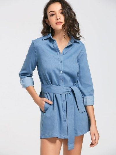 17883f0c2f Belted Denim Long Sleeve Casual Dress  Mini  Dresses  Fashion  Womens  Women   DenimBlue