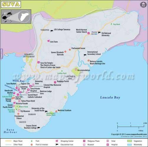 cool Suva Map Capital of Fiji Holidaymapq Pinterest Fiji